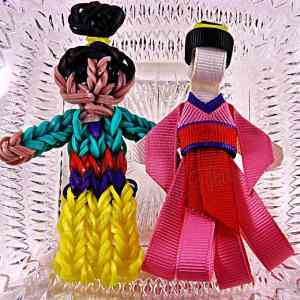 Princess Mulan Ribbon Sculpture Hairclip Loom Doll Set