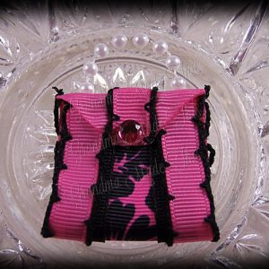 Purse Ribbon Sculpture Double Side Ribbon Hot Pink Hibiscus