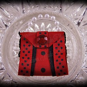 Purse Ribbon Sculpture Double Side Ribbon Red Black Polka Dots