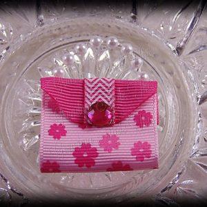 Purse Ribbon Sculpture Petite Pink Flowers