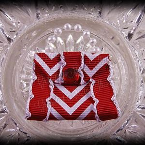 Purse Ribbon Sculpture Side Ribbon Red Chevron