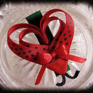 Red Black Polka Dot Lovebug Heart Ribbon Sculpture Hairclip