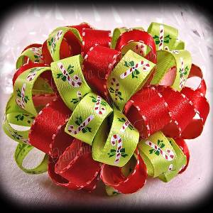 Red Green Candy Canes Loopy Puff Ball Hair Bow