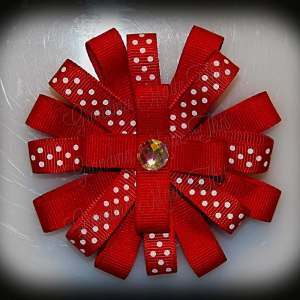 Red Polka Dot Loopy Flower Bow