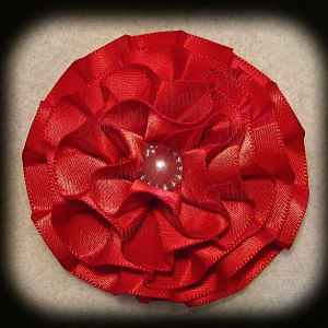 Red Satin Frilly Flower Hair Bows