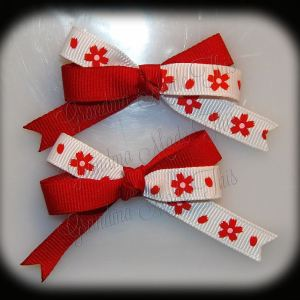 Petite Quad Barrette Hairbow Set Red Flowers