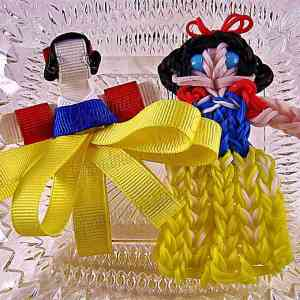 Snow White Ribbon Sculpture Hairclip Loom Doll Blue Eyes Set