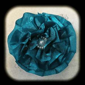 Teal Satin Frilly Flower Hair Bows