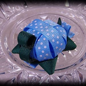Turtle Ribbon Sculpture Blue White Polka Dots