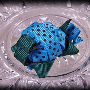 Turtle Ribbon Sculpture Turquoise Brown Polka Dots