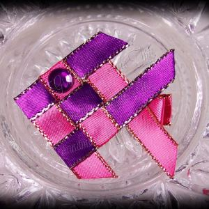 Woven Fish Ribbon Sculpture Hot Pink Purple Satin Glitter 2