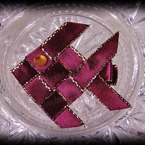 Woven Fish Ribbon Sculpture Wine Satin Glitter