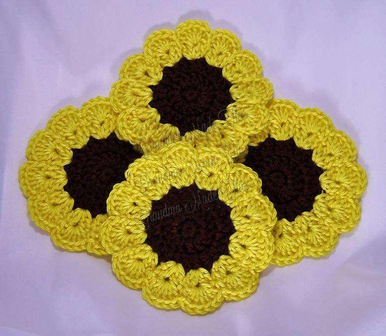 Sunflower Crochet Coaster Set