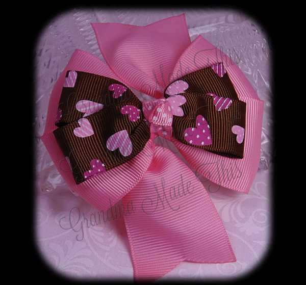 Pink Hearts on Brown Pink Stacked Quad Pinwheel Hair Bow