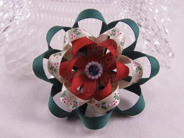 Layered Ribbon Sculpture Flower Hair Bow (3)