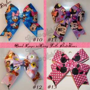 Licensed Long Tail Quad Hair Bows