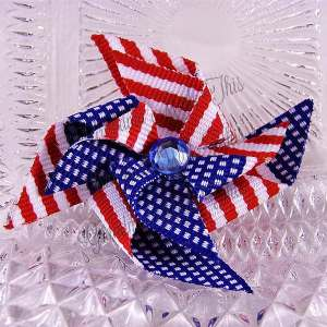 Medium Stacked Patriotic Pinwheel Hair Clips