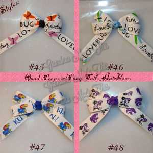 Long Tail Quad Hair Bows 5/8″ Ribbon