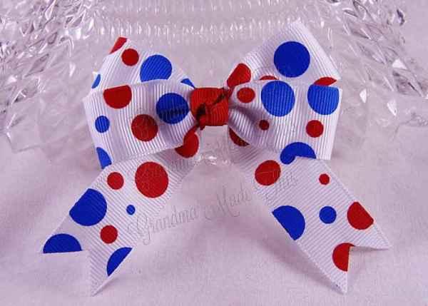 Patriotic Polka Dots Long Tail Quad Hairbow