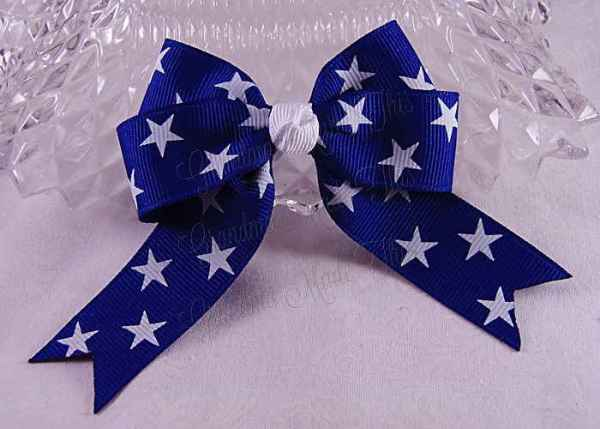 Patriotic Stars in Blue Long Tail Quad Hairbow