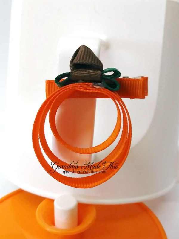"""Halloween Pumpkin Ribbon Sculpture Hairclips 1"""""""