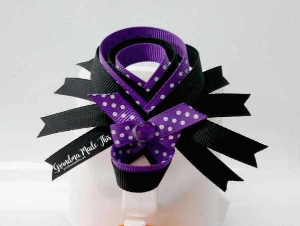 Halloween Spider Ribbon Sculpture Large Hairclips Purple