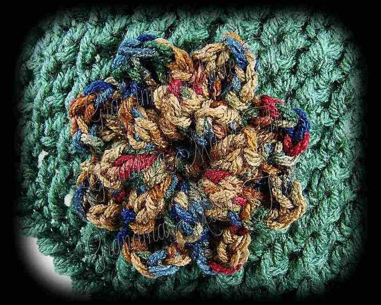 Crochet Diamond Posts Hat - Dark Sage Painted Dessert Flower
