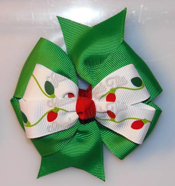 Christmas Lights Green Stacked Quad Pinwheel