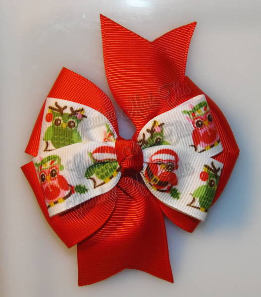 Christmas Owls Red Stacked Quad Pinwheel