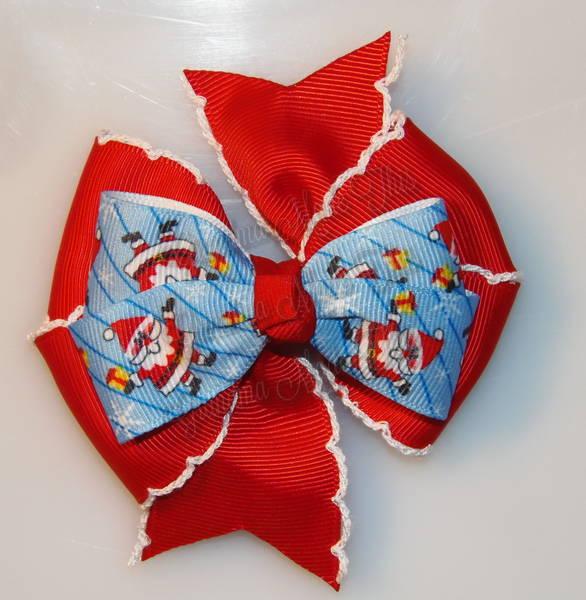 Jolly Santa Red Moonstitch Stacked Quad Pinwheel