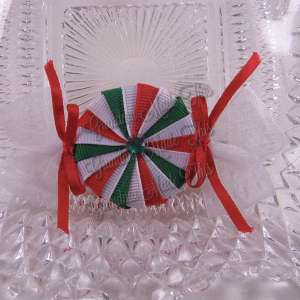 Christmas Peppermint Candy Ribbon Sculpture Hairclip