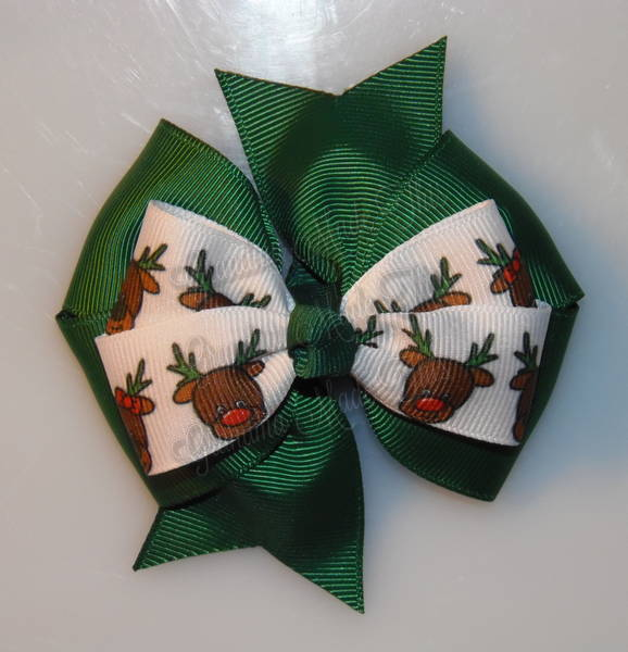 Rudolph Reindeer Green Stacked Quad Pinwheel