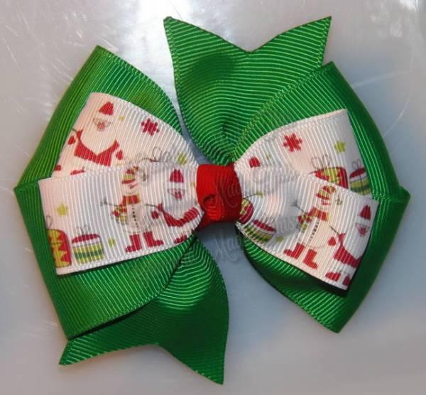 Santa n Snowman Green Stacked Quad Pinwheel