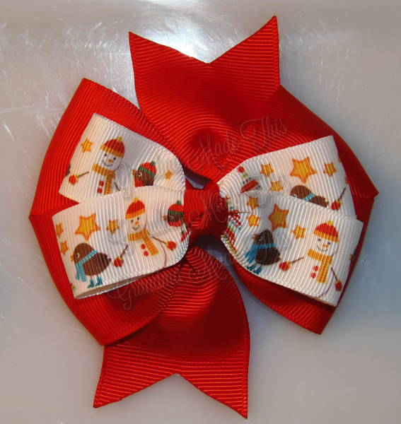 Snowman Friends Red Stacked Quad Pinwheel