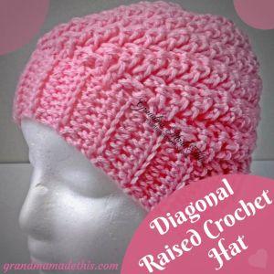 Crochet Diagonal Raised Beanie Hat