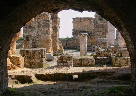 through an arch