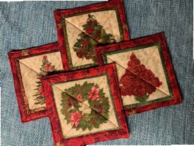"""Holiday Hot Pads (approx. 9"""" Long x 9"""" Wide), $5.00 each / All 4 for $16.00"""