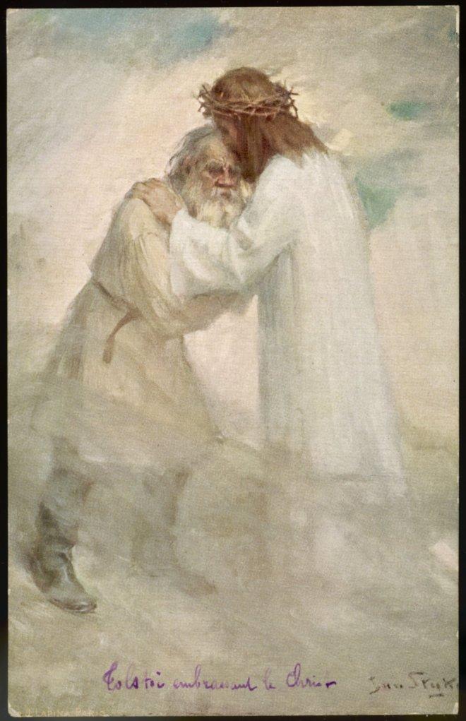 Я. Сныка «Толстой, обнимающий Христа. Почтовая открытка»