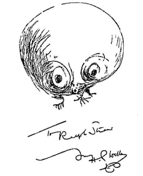 Марсианин по представлениям автора «Войны миров» (автограф Герберта Уэллса)