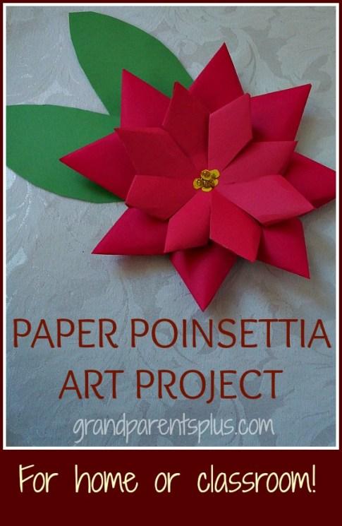 Paper Poinsettia Art Project grandparensplus.com