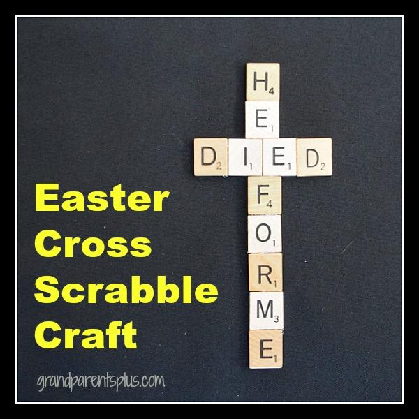 Easter Cross Scrabble Craft grandparentsplus.com