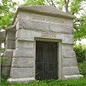 The erection of a mausoleum in a Jewish cemetery, here in the Temple Emanuel section of Oak Hill, is unusual, as it represents a departure from the Old Testament requirement of earthly burial. Such structures were typically reserved for highly respected members of the community, such as the Houseman and Amberg families.