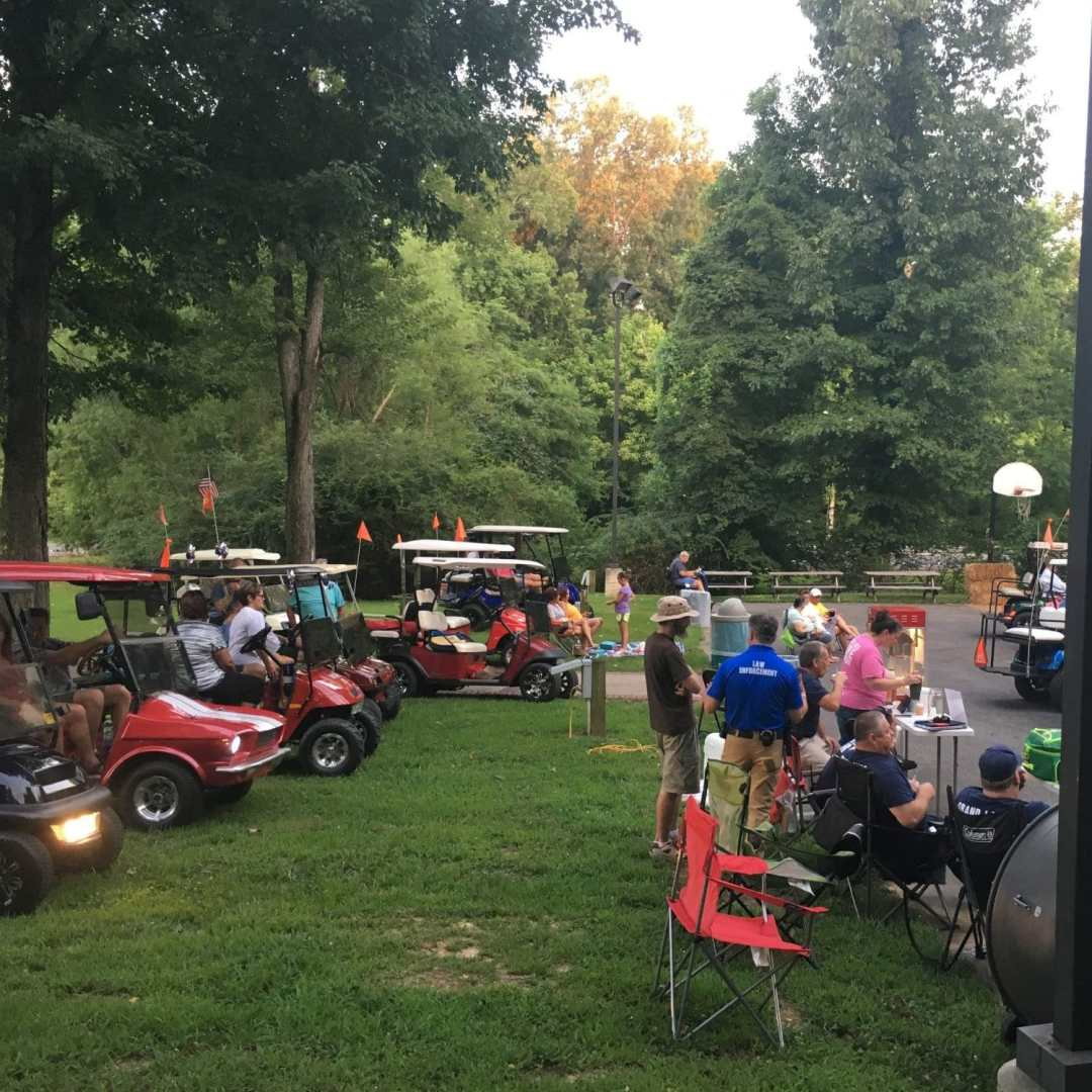 Grand Rivers golf cart drive in movie