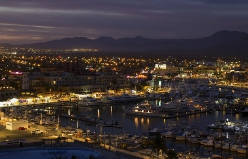 Los Cabos at night with all the boats lit up