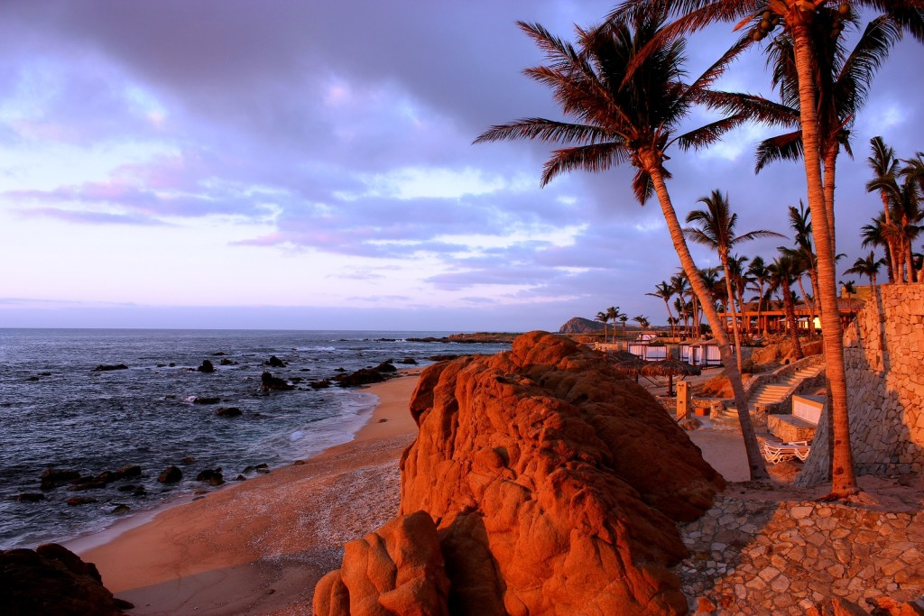 sunrise with rocks, ocean, palm trees and sand