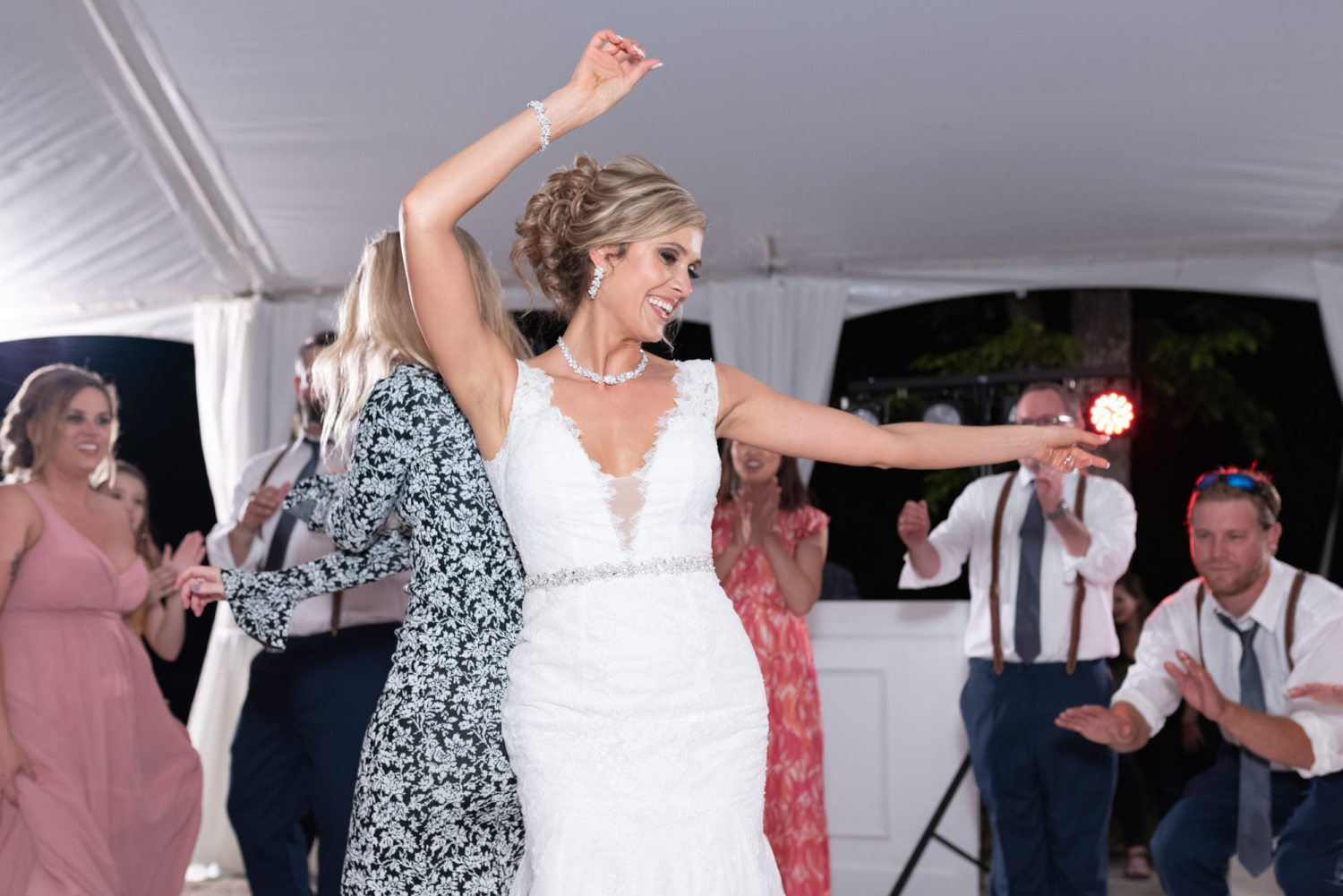 Bride having fun dancing - Brookgreen Gardens