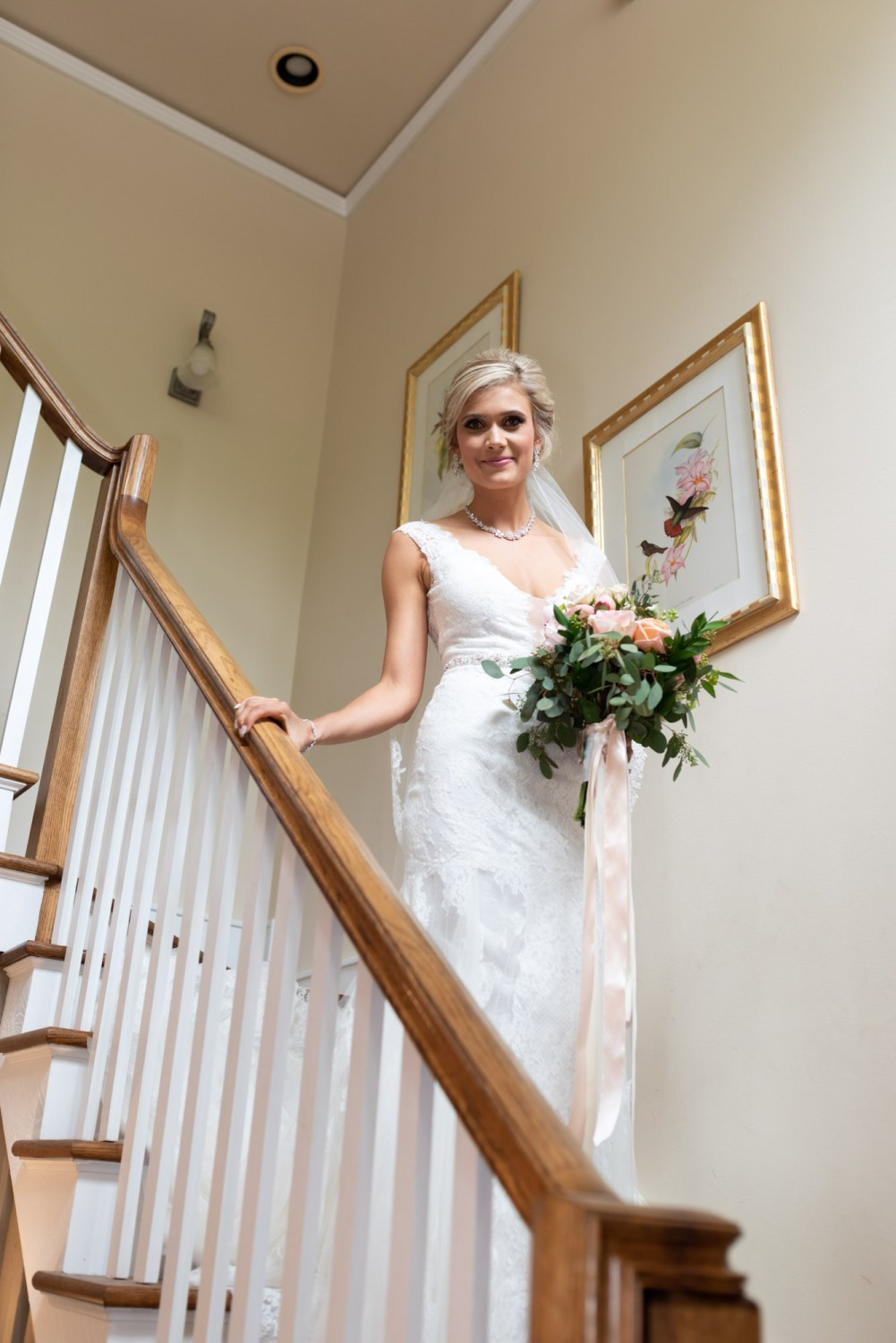 Bride walking down the steps - Brookgreen Gardens