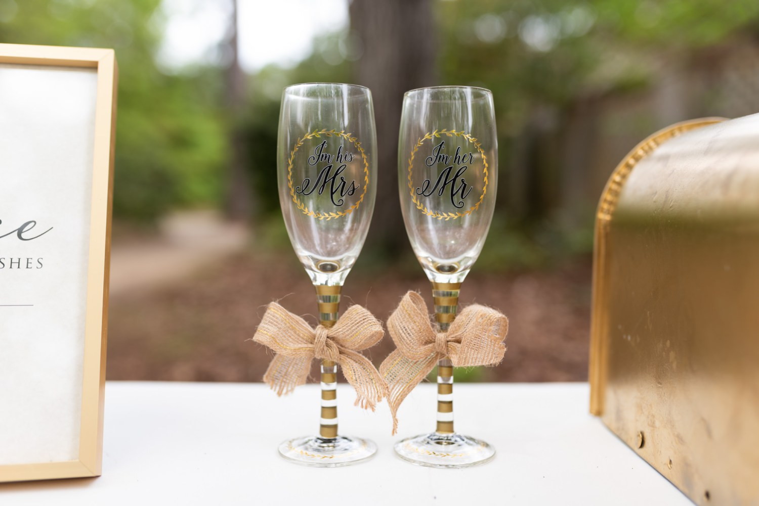 Mr and Mrs wine glasses - Brookgreen Gardens