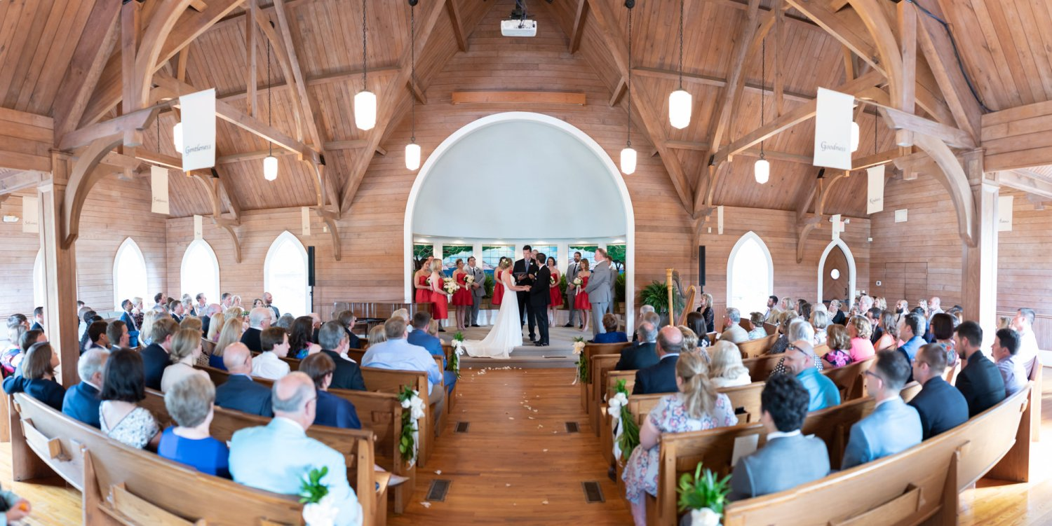 Panorama of the wedding chapel  - Pawleys Island Community Chapel