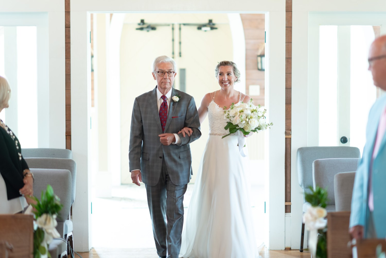 Bride and father walking down the isle - Pawleys Island Community Chapel